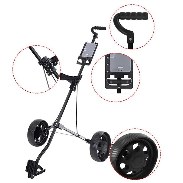 Golf Pull Cart Adjustable Golf Trolley Cart 2 Wheels Push Pull Golf Cart Aluminium Alloy Foldable Trolley With Brake 3