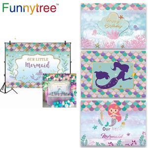 Image 1 - FunnyTree Fondo de tema de sirena para fiesta de cumpleaños, Fondo de fiesta de cumpleaños para niños, photophone, photozone Decor