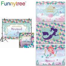 FunnyTreeพื้นหลังMermaid Theme 1st Birthday Partyการ์ตูนเด็กทารกฉากหลังPhotocall Photophone Photozone Decor