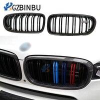 For BMW 5 Serie F10 F18 paraurti Anteriore in fibra di carbonio air grille 2010 2016 520 525 528 double Three color grille