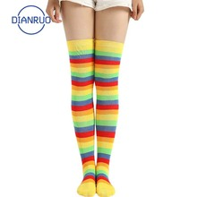 Stockings Women Knee-Socks Rainbow Striped High-Knitted Thigh Cotton Cute Ladies DIANRUO
