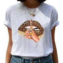 2021 novo leopardo lábios mulheres t camisa vogue gráfico topos camisa base o-pescoço sexy t beijo lábio engraçado sussurrar palavras meninas tshirts