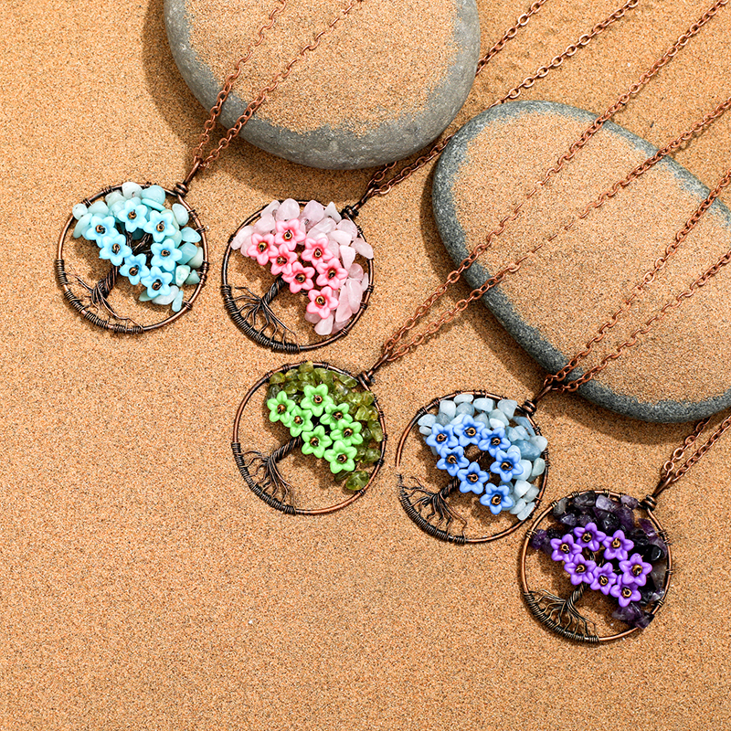 2019 New Tree of Life Flower Charms Pendant Necklaces for Women Girl Natural Quartz Druzy Pendant Necklaces Jewelry Accessories in Pendant Necklaces from Jewelry Accessories