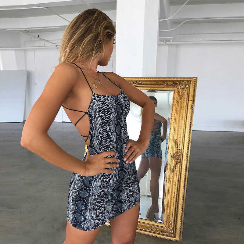 2020 Sexy Cross Bandage Backless Bodycon Jurken Vrouwen Zomer Mode Club Snake Print Jurk Mouwloze Halter Party Mini Jurk