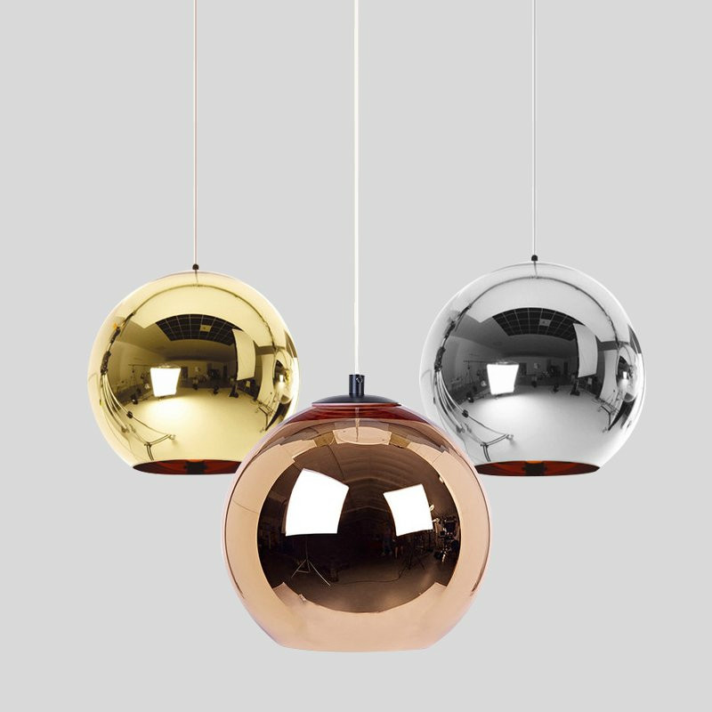 Modern Electroplated Glass Ball Pendant Lights LED Hanging Lamp Kitchen Living Room Cafe Bar Pendant Lamp Decor Light Fixtures