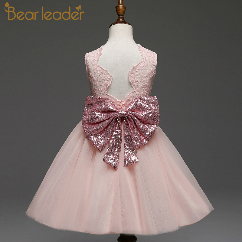 Bear Leader Girls Dresses 2019 New Brand Princess Girls Clothes Bowknot Sleeveless Party Dress Kids Dress For Girls 1-6 Years
