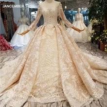 HTL190, Vestidos de Novia de encaje de lujo, vestido de novia musulmán de manga larga con encaje en la espalda con apliques brillantes abiti da