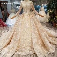 HTL190 phối ren sang trọng váy áo dài tàu dài tay phối ren lưng hồi giáo cô dâu đầm sáng bóng appliques abiti da