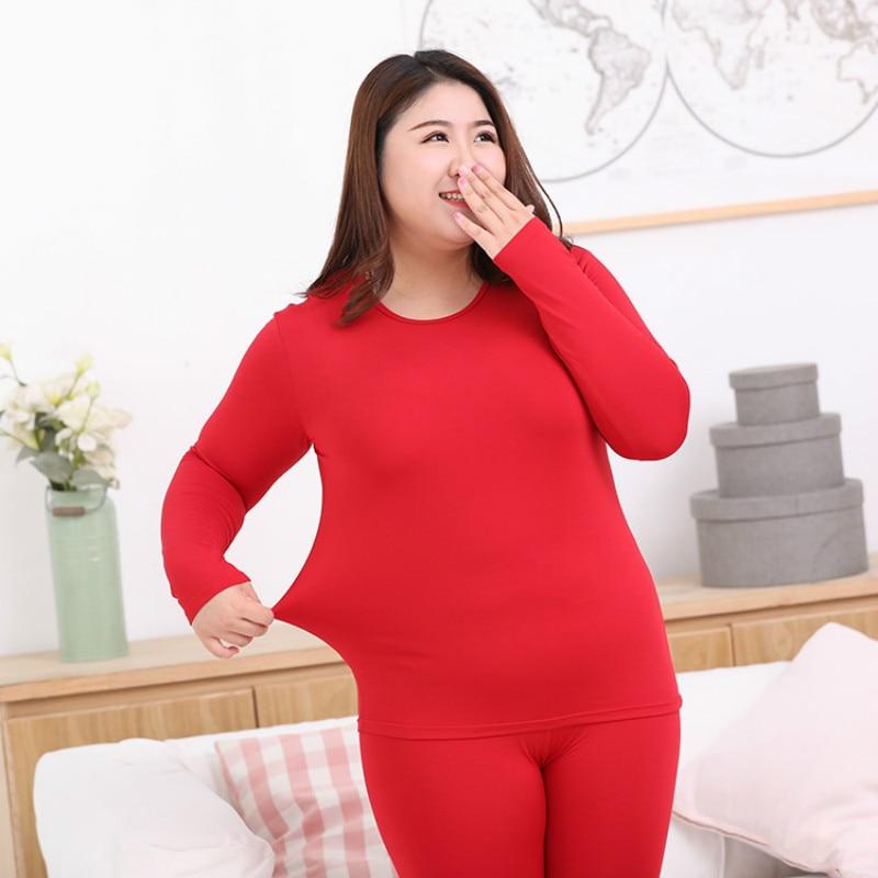 Plus Size Women Thermal Underwear Suits Milk Fiber Super Elastic Warm Long Johns Sets Oversize Feminino Winter Clothing L-6XL
