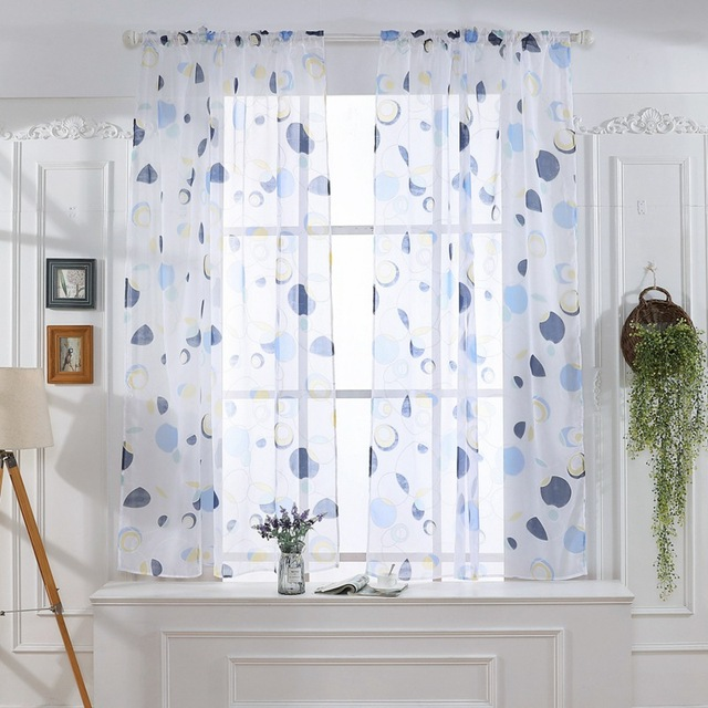 Tulle Curtains 3d Treatments American Voile Living Valance Decorations Modern Sheer Kitchen Window Room Printed Curtain 2