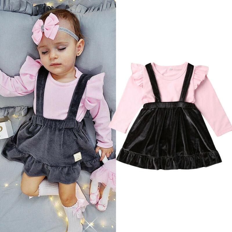 US Kid Baby Girl Christmas Tops T-shirt+Check Tutu Skirt Overall 2Pcs Outfit Set