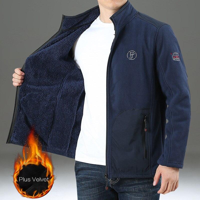 4XL Autumn Winter Mens Warm Fleece Jacket Plus Velvet Thicken Thermal Big Size Cardigan Fleece Coat Outdoor Sport Hiking Jackets