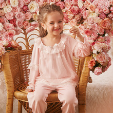 Autumn Winter Flannel Pajamas For Girls Long Sleeve Pants Bow Lace Nightwear Suit 2-8y Kid Girl Warm Thickening Home Sleepwear