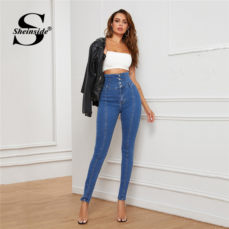 Sheinside Blue Casual Wide Waist Skinny Jeans Women 2020 Spring Button Up Stretchy Trousers Ladies Pocket Denim Pencil Pants