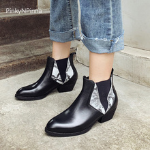 Designer women Chelsea ankle boots genuine leather cowhide python pattern slip on chunky heels winter booties runway style shoes недорого