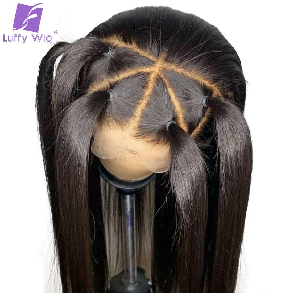 13x6 прямо Синтетические волосы на кружеве парик человеческих волос Выбеленные узлы предщипанный бесклеевой парик бразильский Волосы remy для...