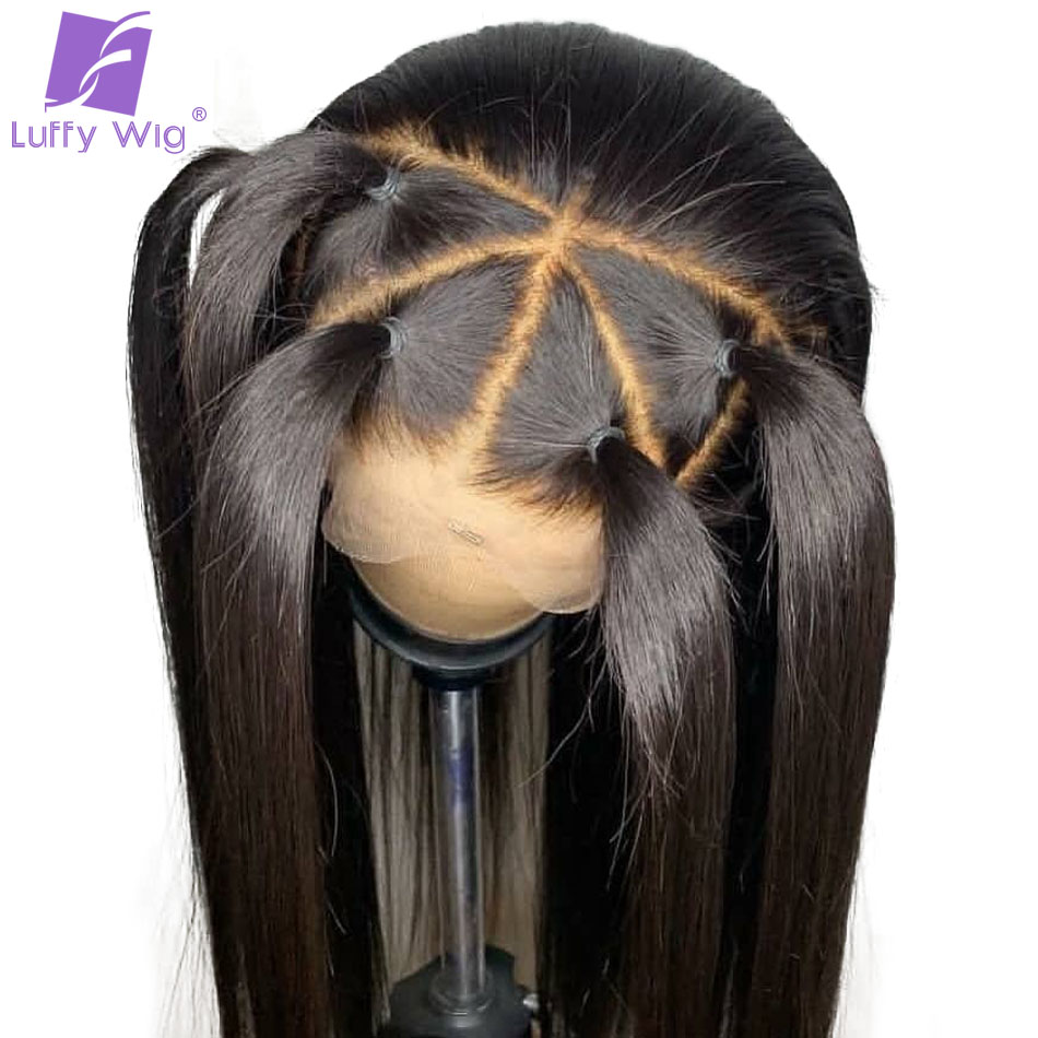 Straight 13x6 Lace Front Wigs Human Hair Bleached Knots Pre plucked Glueless Brazilian Remy LUFFY Wig(China)