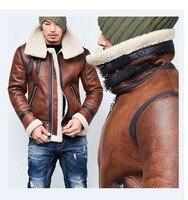 Winter Vintage Moto Bomber Jackets Men 2019 Streetwear Warm Teddy Bear Men Coat Turtleneck Faux Leather Zipper Outwear Coat Male
