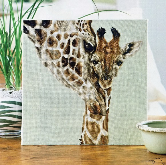 GG Giraffe Mother And Child Counted Cross Stitch Kit Cross Stitch RS Cotton With Cross Stitch No Print Friendship