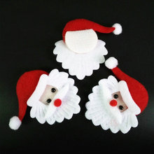 100 قطعة عيد الميلاد سانتا كلوز رئيس زخرفة النسيج عيد الميلاد الحلي ملحق للحلوى هدية صندوق التموين ورأى سانتا