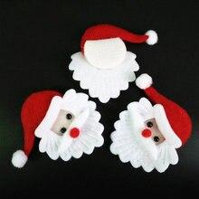 100pcs Di Natale Babbo natale testa Ornamento tessuto Ornamenti di natale accessorio per il regalo della caramella della scatola di alimentazione feltro Santa