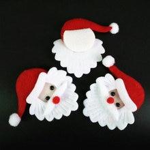 100pcs 크리스마스 산타 클로스 머리 장식 패브릭 크리스마스 장식품 액세서리 사탕 선물 상자 공급 펠트 산타