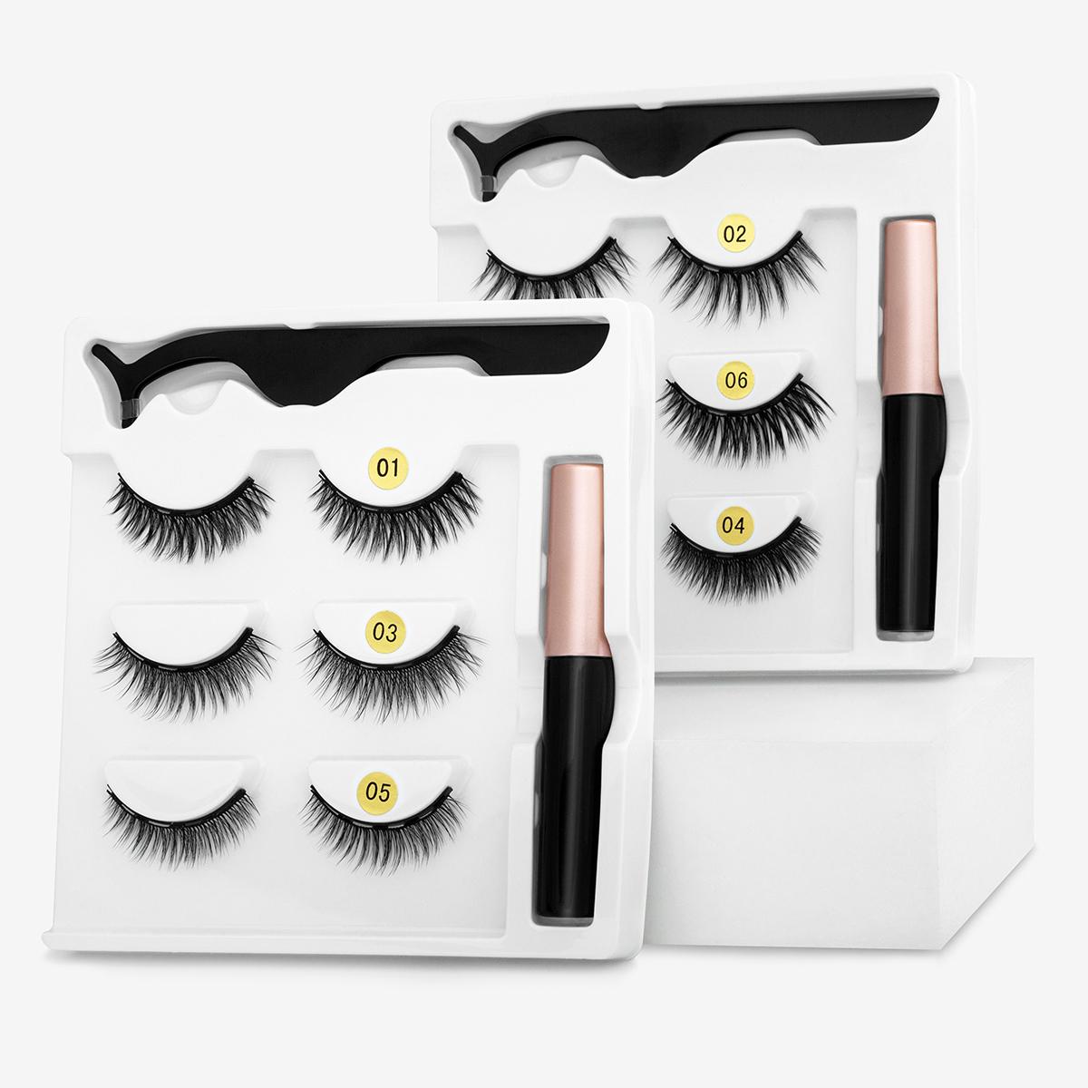 Magnetic Eyelashes 3D  False Mink Eyelashes Magnetic Waterproof Eyeliner Tweezer Magnetic False Eyelash Handmade lash Makeup