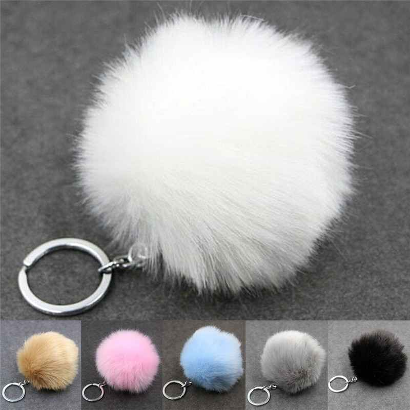 Hot Fauxกระต่ายFUR Ball Pom Pom fluffy Porte Clef llaverosพวงกุญแจสำหรับกระเป๋าโลหะBUCKLE Key CHAIN