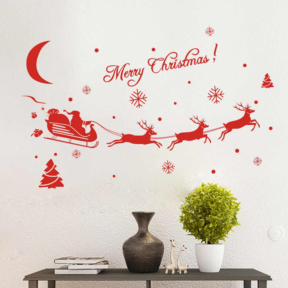 Yeni yıl pencere camı PVC duvar Sticker noel DIY kar Elk duvar çıkartmaları ev çıkartması noel dekorasyon ev gereçleri için YH