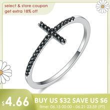 BAMOER Popular 925 Sterling Silver Faith Cross Shape Finger Rings for Women ,Black Clear CZ Sterling Silver Jewelry Gift SCR067