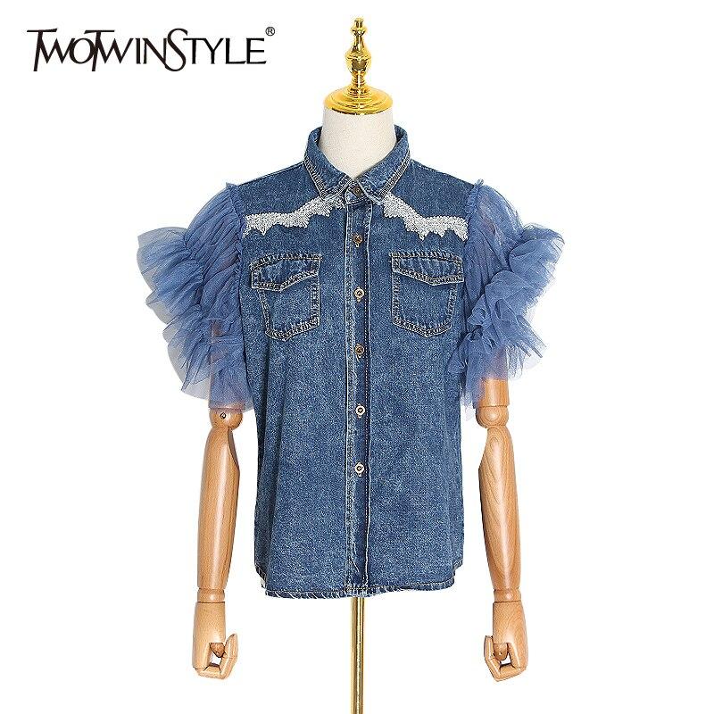TWOTWINSTYLE Patchwork Mesh Denim Jacket Women Lapel Collar Sleeveless Ripped Hole Ruffles Female Coats Fashion 2020 Clothes New