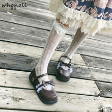 WHOHOLL Pumps Lolita Shoes Woman girls Jk Uniform cosplay costumes Plum Princess Doll Lace Small Leather
