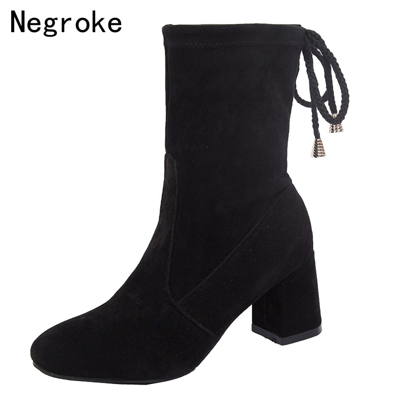 Women 39 s Boots Flock Elastic Sock Ankle Boots Ladies Thick High Heels Autumn Winter Shoes Woman Socks Booties Bota Feminina in Ankle Boots from Shoes