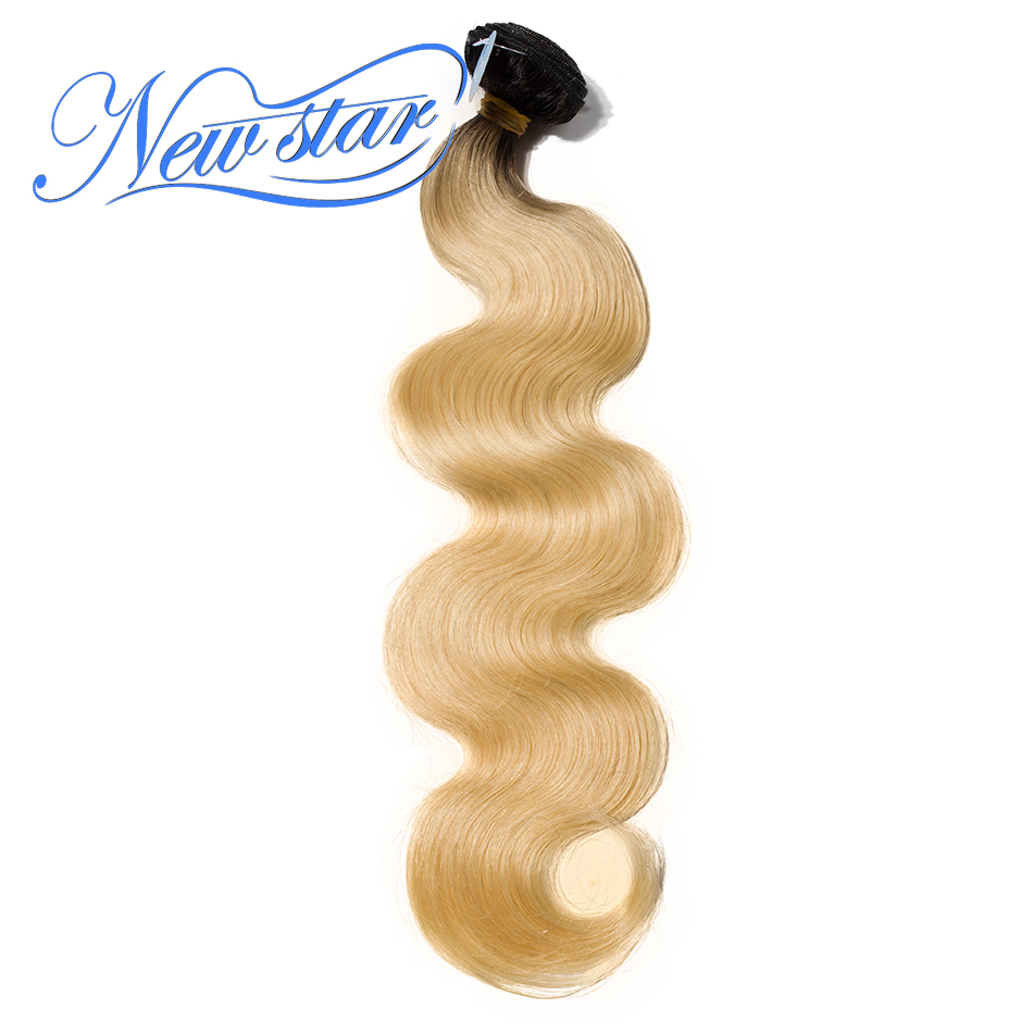 New Star Brazilian Black Roots Blonde Body Wave One Bundles 12 30Inch T1b 613 Extensions 100