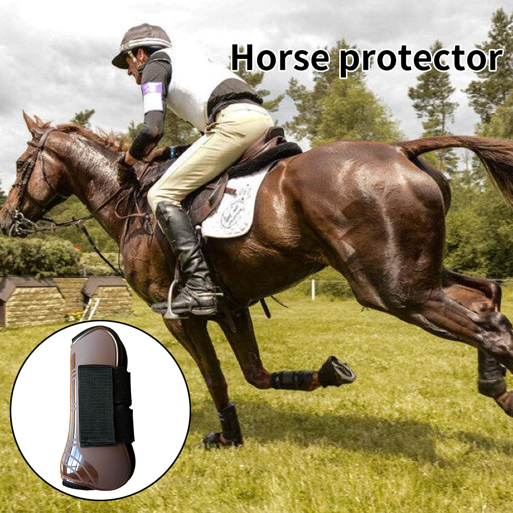 4Pcs Horse Tendon Boot Leg Guard PU Shell Shock Absorbing Protective Gear Jumping Adjustable Riding Running Equestrian Equipment