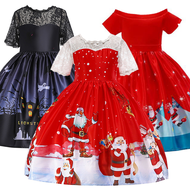 3 10 Yrs Baby Girl Dress Santa Claus Winter Christmas Costume Kids Dress Girls Clothes Halloween Party Dress Princess Dresses in Dresses from Mother Kids