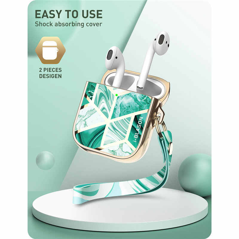 i-Blason Cosmo Case Designed For Airpods, 360 Degree Protective Stylish Marble Case Cover Compatiable with AirPods 1st/2nd