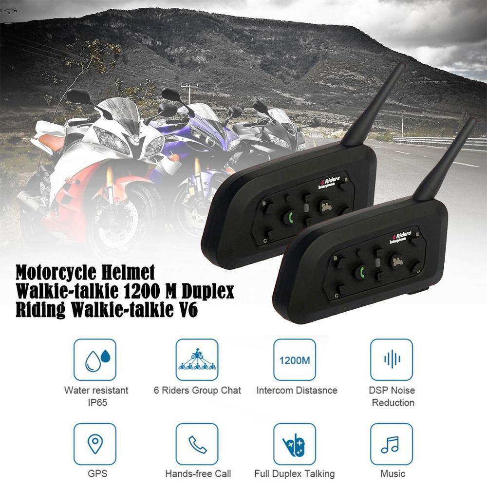 2 uds casco de motocicleta walkie-talkie 1200 M Duplex walkie-talkie V6Pro 1200 M para casco de motocicleta Moto intercomunicador auriculares