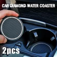 Uds coche accesorios diamante estera de la taza botella de cojín de asiento de silicona antideslizante cojín Auto автомобильные товары Dropshipping. Exclusivo.