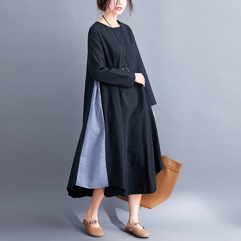 2019 Autumn Double Color Joint Literature And Art Loose-Fit Mid-length Large Size Cotton Linen Dress Limit 54