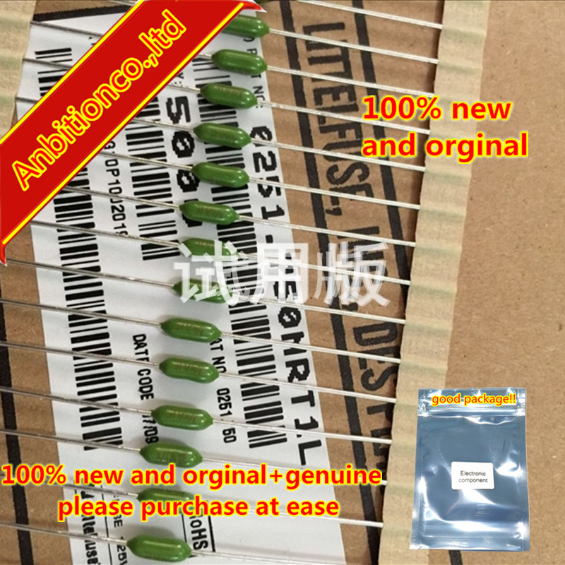 10pcs 100% New And Orginal Resistive Fuse 0251.750NRT1L Fast-break Green 750MA Imported From The United States In Stock