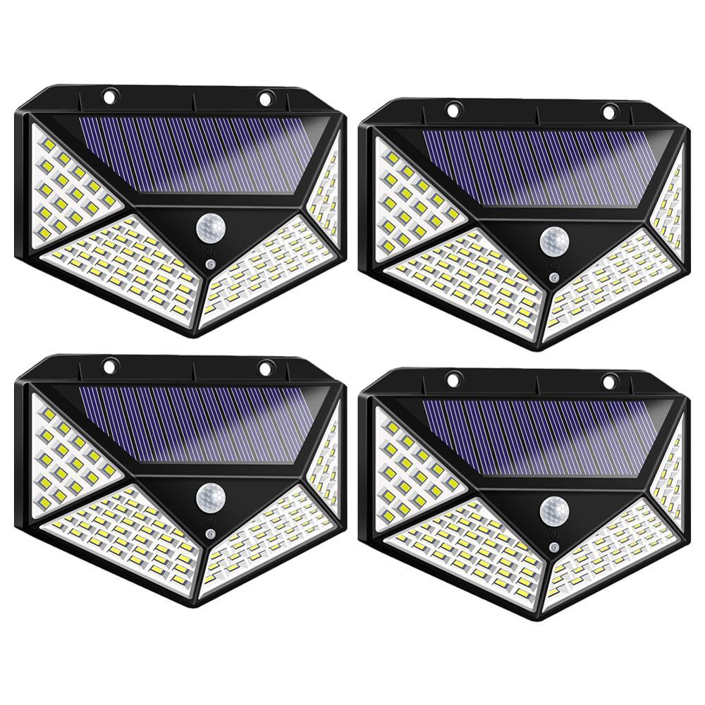 100/ 114LED 4-Sided Solar PowerLight 3 Modes 120 Degree Angle Motion Sensor Solar Wall Lamp Outdoor Waterproof Garden Yard Lamps