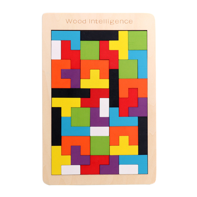New High Quality Wooden Tangram Brain Tetris Game Puzzle Bloacks Preschool Children Play Harmless Wood Training Educational Toys