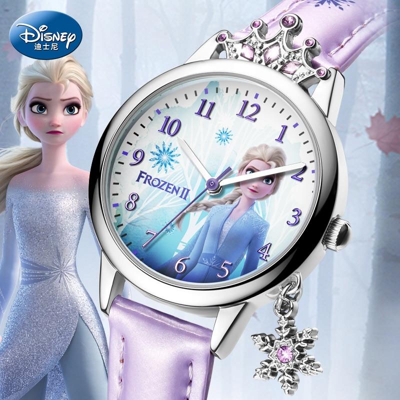 Disney Frozen Ⅱ Princess Series Elsa Luxury Bling Rhinestone Crown Snowflake Pendant Beautiful Girls Watches Children Watch New