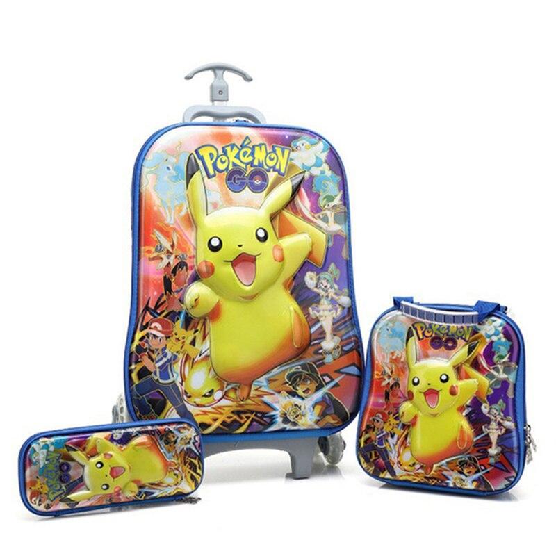 2020 New Children's Trolley Case Pokemon Children's Schoolbag Trolley Schoolbag Wheeled Luggage Boy Girl Schoolbag Children