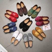 Camurça de couro genuíno retalhos sapatos femininos selvagem fundo macio sapatos planos femininos rendas casuais zapatillas femme