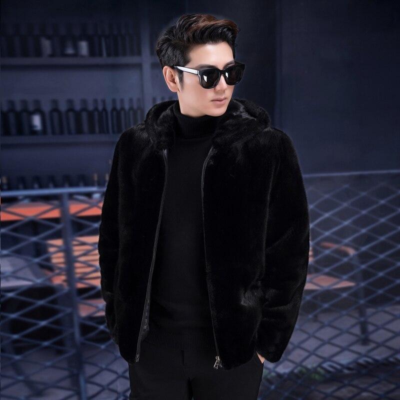 2019 nouveau manteau de vison pleine fourrure pour hommes manteau de fourrure de vison noir à capuche