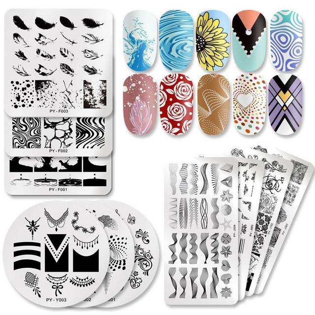 PICT YOU Nail Stamping Plates Flower Rectangle Stainless Steel Nail Image Stencils Stamping Template