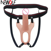 Realistic Strap on Dildo Silicone Hollow Dildo Harness Penis Enlarger Extender Sex Toys for Man Gay Couples Sex Products Q197