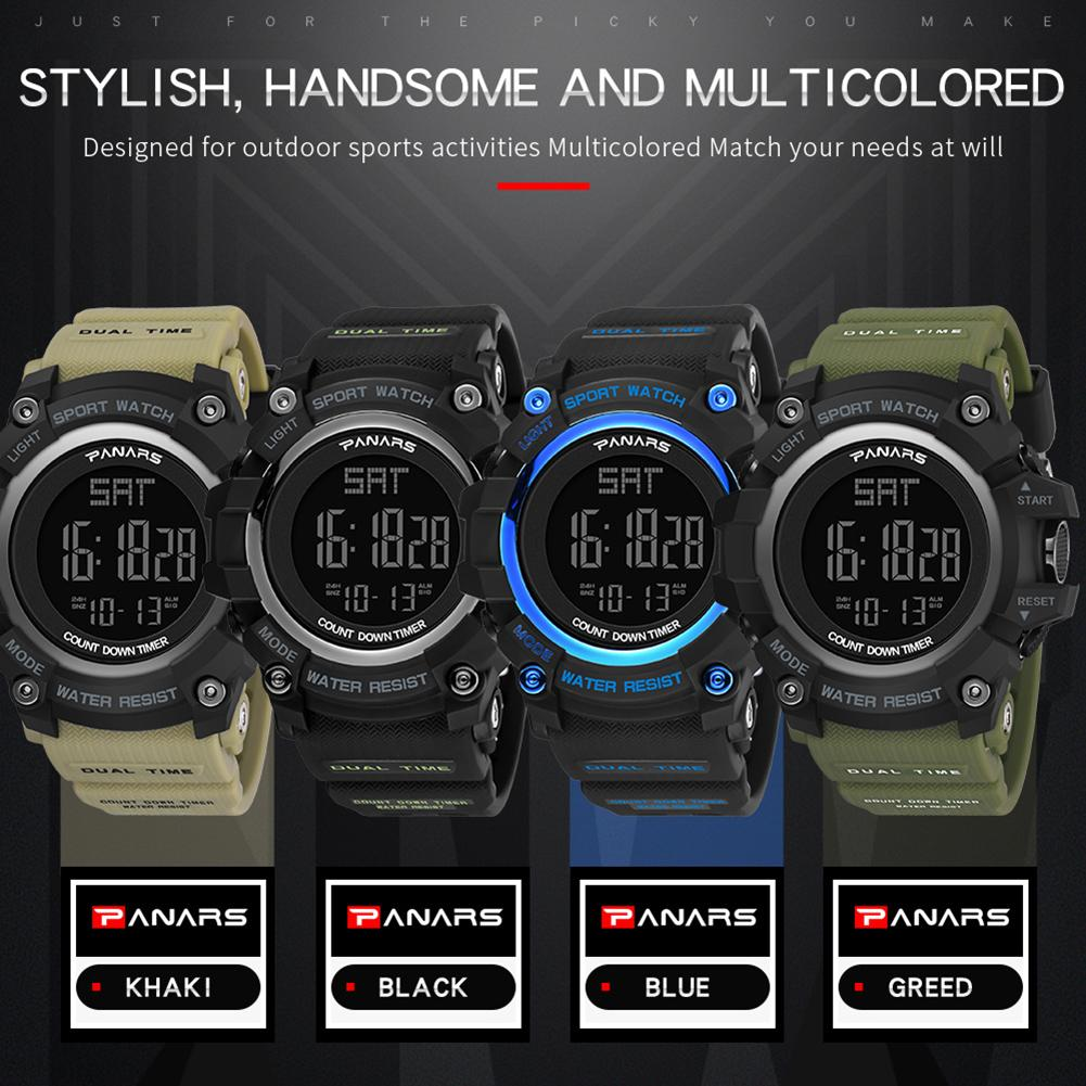 Waterproof Outdoor Backlight Plastic Band Alarm Sports Relogio Mas-culino Digital Men Wrist Watch Watch Multi-color Mas-culino F